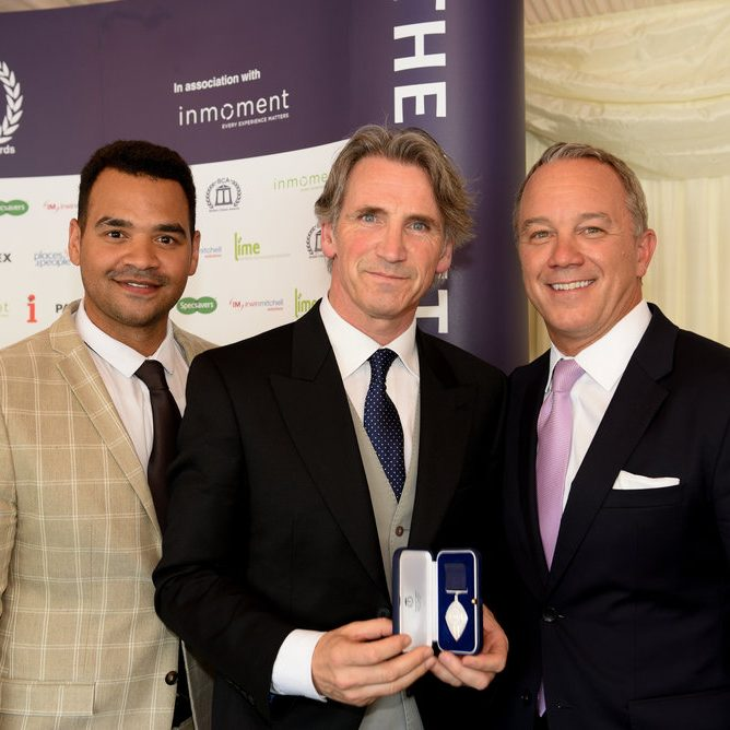 Chris Morrison standing with Michael Underwood and Lonnie Mayne at the British Citizen Awards